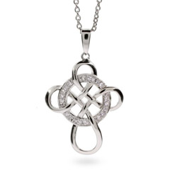 Wheel of Being Sterling Silver and CZ Celtic Cross Pendant