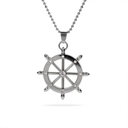 Nautical CZ Ship's Wheel Stainless Steel Pendant