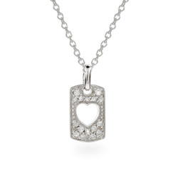 Sterling Silver Petite Cutout Heart Love Necklace