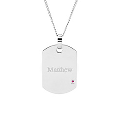 Engravable Stainless Steel Birthstone Dog Tags
