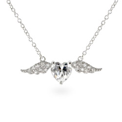 Pave CZ Wings of Desire Sterling Silver Pendant