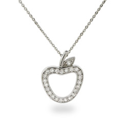 Tiffany Inspired CZ Sterling Silver Apple Pendant