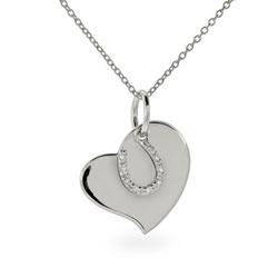 Engravable Sterling Silver Horseshoe Heart Charm Pendant