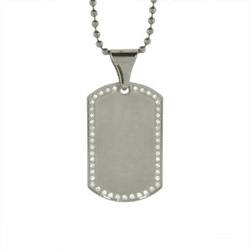 Stainless Steel Engravable Dog Tag with Cubic Zirconia Border