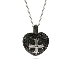 Sparkling Black CZ Heart with Cross Pendant