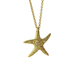 Tiffany Inspired Gold Vermeil CZ Starfish Pendant