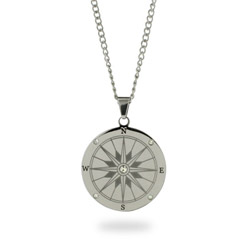 Engravable Stainless Steel Compass Pendant