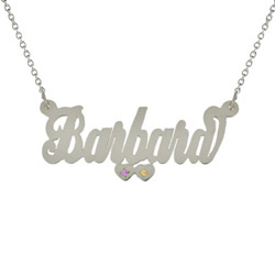 Silver Script Name Necklace with Double Birthstone CZ Hearts