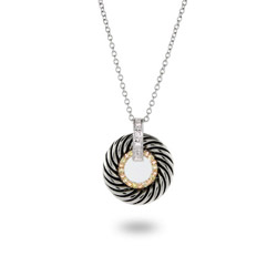 Designer Inspired Pave CZ Cable Circle Pendant
