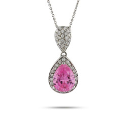Beyonces Sterling Silver Pink Peardrop CZ Necklace