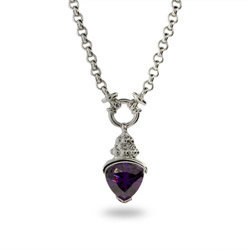 Designer Inspired Triangle Drop Amethyst CZ Necklace