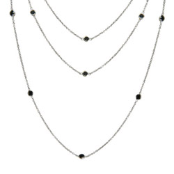 Tiffany Inspired Black Onyx CZ By The Yard 60 Inch Necklace
