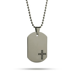 Stainless Steel Engravable Black CZ Cross Dog Tag