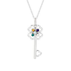 5 Stone Four Leaf Clover Sterling Silver Crystal Birthstone Key Pendant