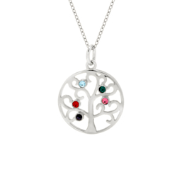 5 Stone Sparkling Crystal Family Tree Pendant in Sterling Silver