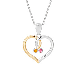 Sterling Silver Austrian Crystal Birthstone Couples Pendant
