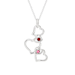2 Stone Dangling Hearts Austrian Crystal Sterling Silver Couples Pendant