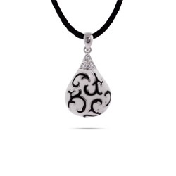 Designer Inspired Black & White Enamel Scroll Design Pendant