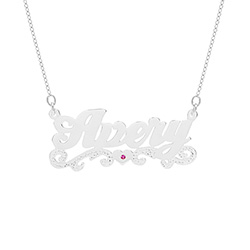 Scroll Design Sterling Silver Custom Birthstone Nameplate Necklace