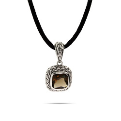 Designer Inspired Cushion Cut Smoky Topaz CZ Bali Style Pendant