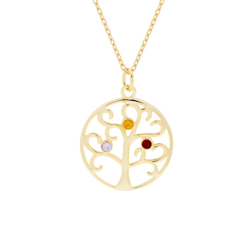 3 Stone Gold Vermeil Crystal Family Tree Pendant