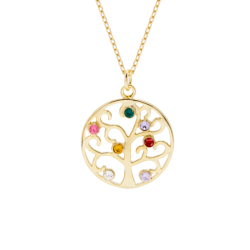 7 Stone Gold Vermeil Crystal Birthstone Family Tree Pendant