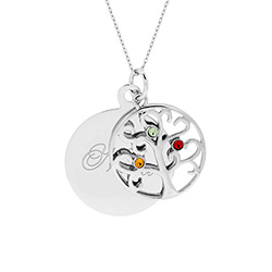 Engravable 3 Stone Sparkling Crystal Family Tree Pendant