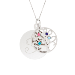 Engravable 4 Stone Sparkling Crystal Family Tree Pendant