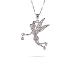 Sterling Silver and CZ Fairy Pendant