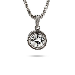 Sterling Silver Bezel Set CZ Pendant with Milgrain Edging