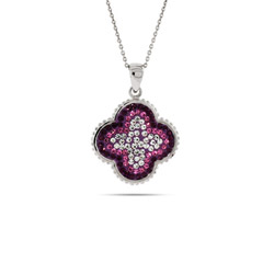 Sparkling Purple and Pink Swarovski Crystal Flower Pendant
