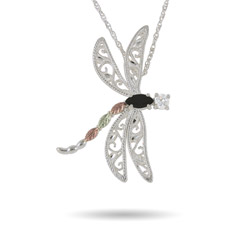 Black Hills Gold Sterling Silver Onyx Dragonfly Necklace