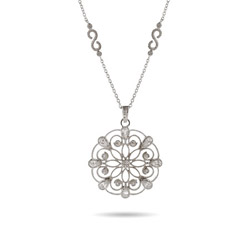 Elegant Vintage Style Lace Pendant with Scalloped Chain