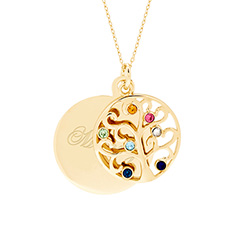 Engravable 7 Stone Gold Vermeil Birthstone Family Tree Pendant