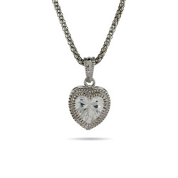 Sterling Silver Bezel CZ Heart Pendant with Milgrain Edging