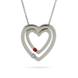 Sterling Silver Double Hearts Swarovski Crystal Couples Pendant