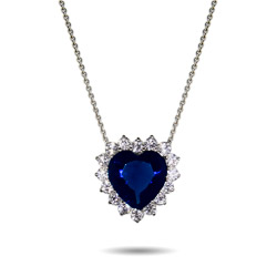 Heart of the Ocean Titanic Inspired Petite Sapphire Heart Pendant