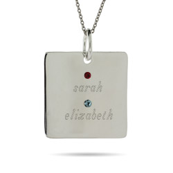 Close to the Heart 2 Stone Sterling Silver Square Tag Pendant