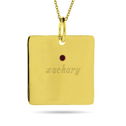 Close to the Heart Engravable Gold Vermeil 1 Stone Square Tag Pendant