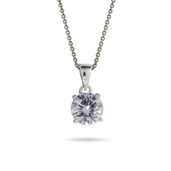Brilliant Cut CZ Sterling Silver Solitaire Pendant