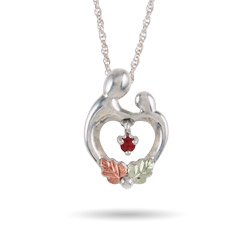 Black Hills Gold On Sterling Silver Mother and Child Heart Birthstone Pendant