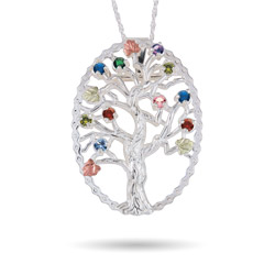 Black Hills Gold On Sterling Silver 10 Stone Genuine Birthstone Family Tree Pin/Pendant
