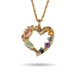 Black Hills Gold 10k Gold 4 Stone Genuine Birthstone Heart Pendant