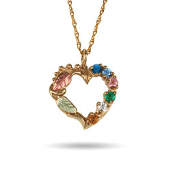 Black Hills Gold 10K Gold 6 Stone Genuine Birthstone Heart Pendant