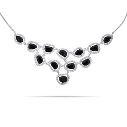 Exquisite Sterling Silver Black Onyx Cocktail Necklace