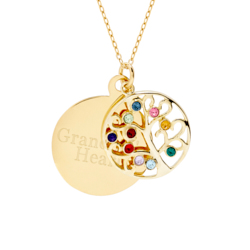 Engravable 10 Stone Gold Vermeil Custom Birthstone Family Tree Pendant