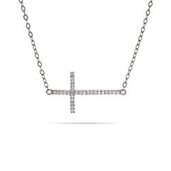 Sterling Silver Sideways CZ Cross Necklace
