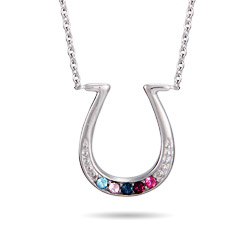 5 Stone Custom Birthstone Sterling Silver Lucky Horseshoe Necklace