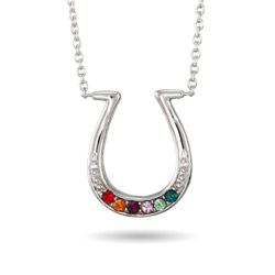 6 Stone Custom Birthstone Sterling Silver Lucky Horseshoe Necklace