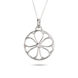 Tiffany Inspired Sterling Silver CZ Flower Pendant